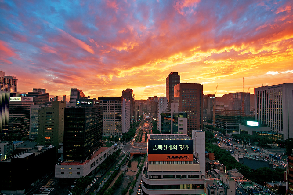 Fire in the sky over Seoul